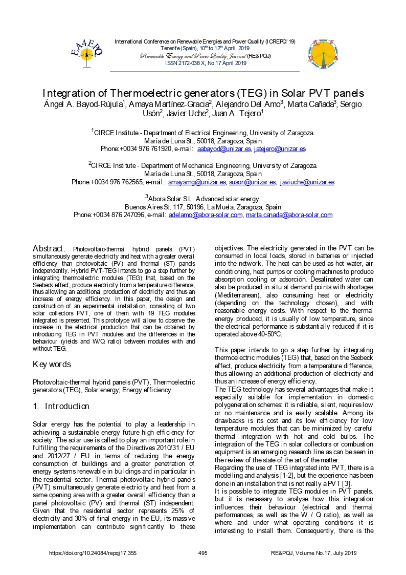 Integration of thermoelectric generators (TEG) in solar PVT panels