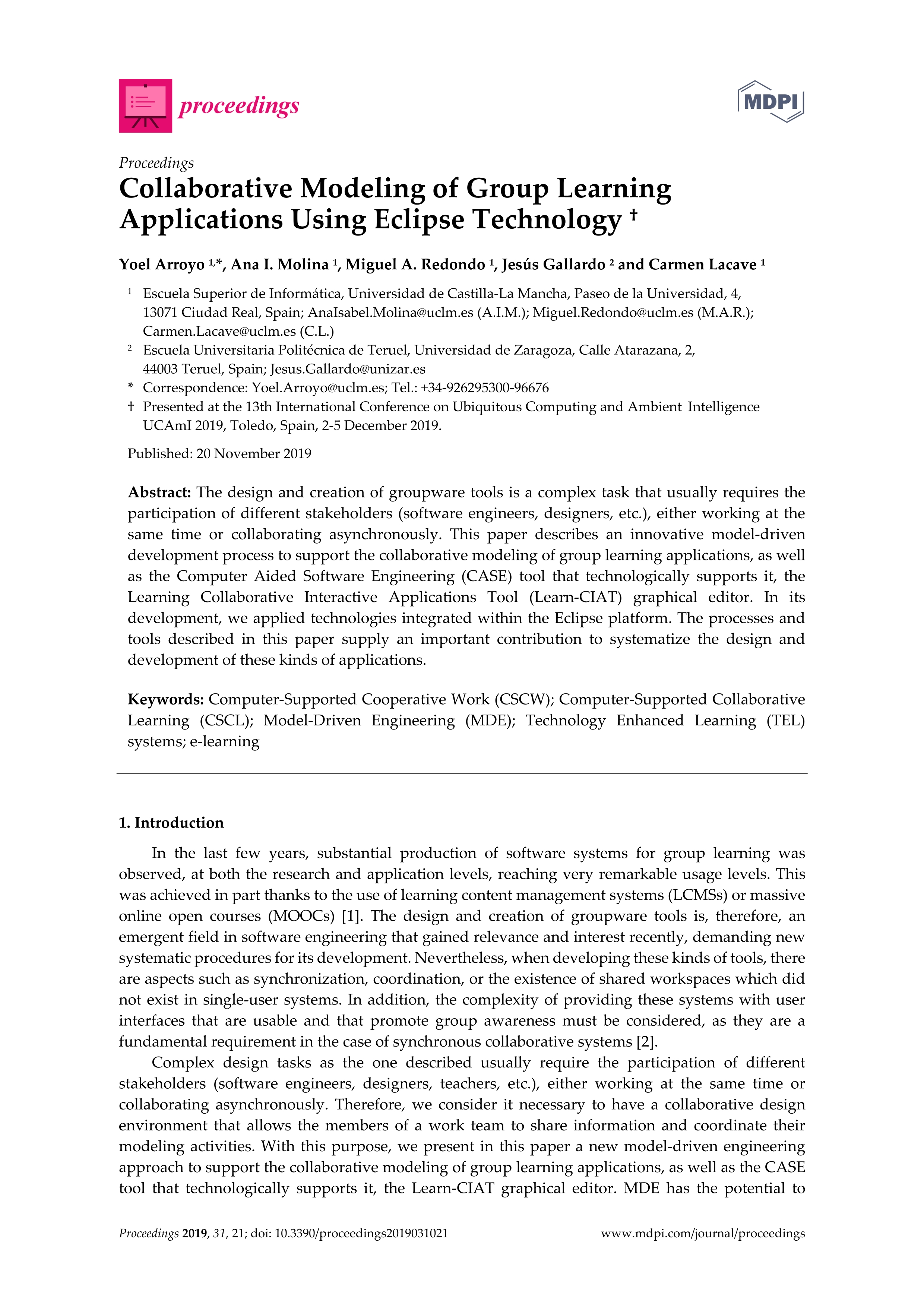Collaborative Modeling of Group Learning Applications Using Eclipse Technology