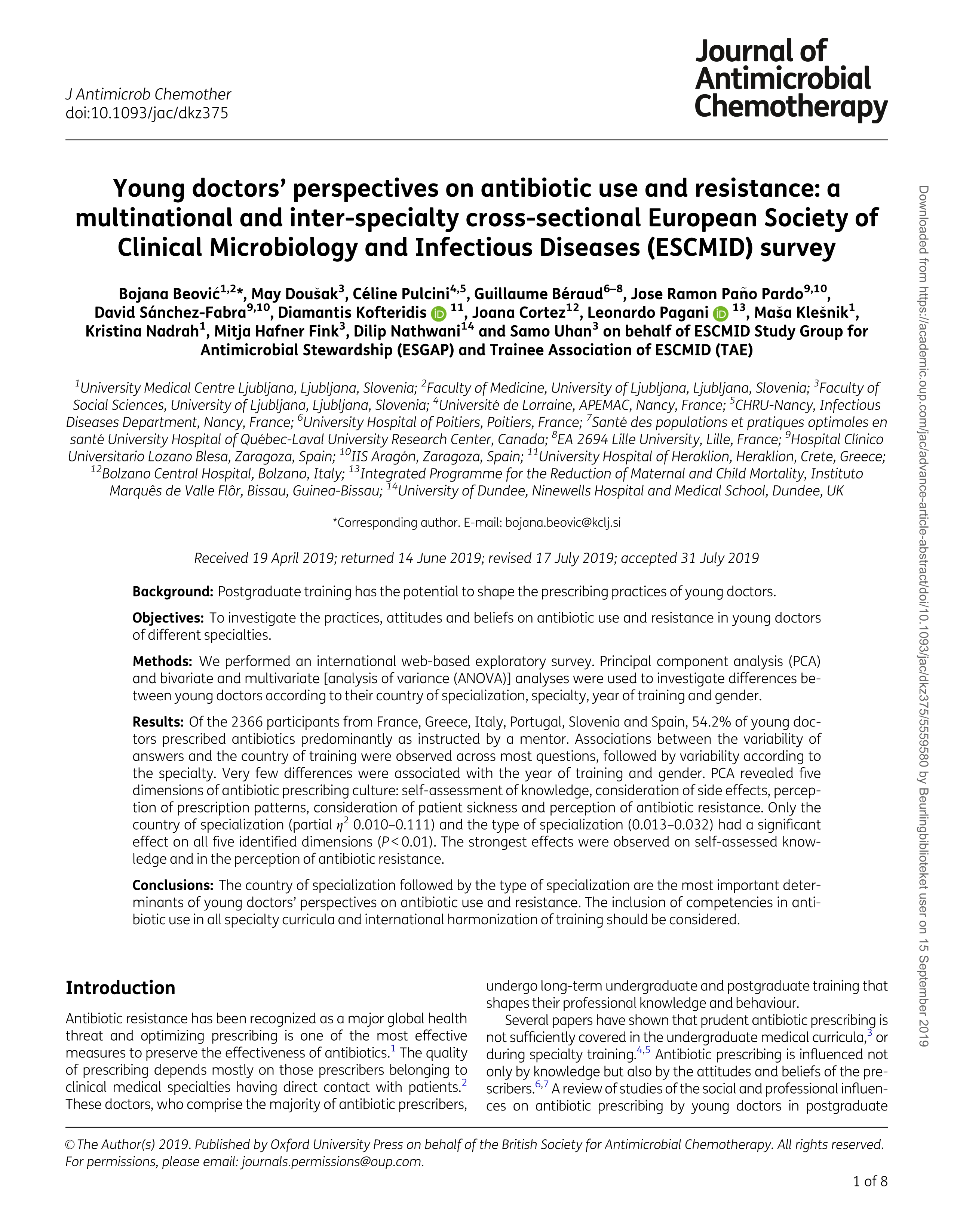 Young doctors' perspectives on antibiotic use and resistance: A multinational and inter-specialty cross-sectional European Society of Clinical Microbiology and Infectious Diseases (ESCMID) survey