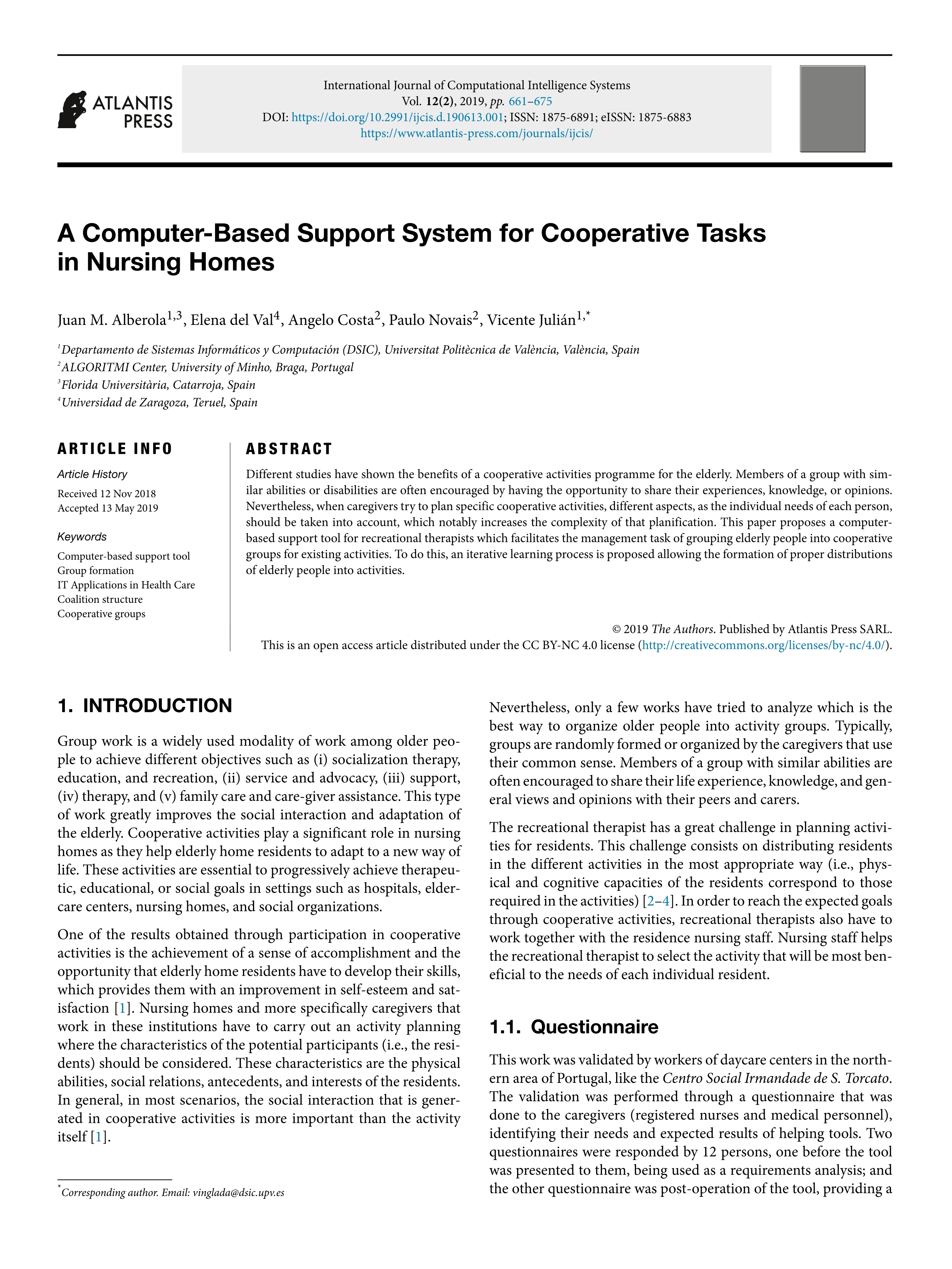 A computer-based support system for cooperative tasks in nursing homes