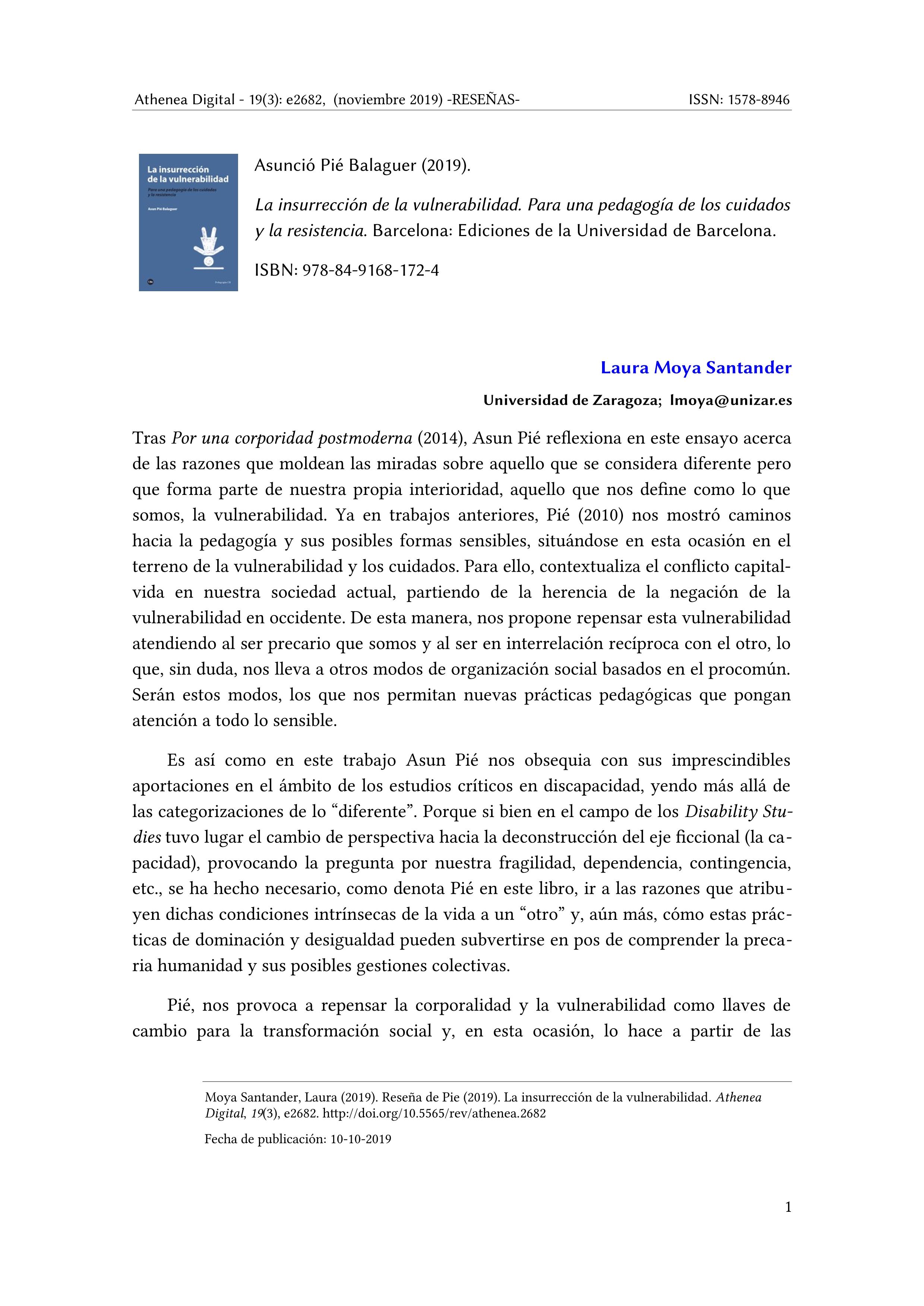 Reseña de Pié (2019). La insurrección de la vulnerabilidad. Para una pedagogía de los cuidados y la resistencia. Barcelona: Ediciones de la universidad de Barcelona.